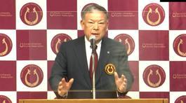 開会の挨拶をする甲南大学同窓会の丹羽会長